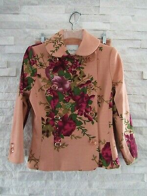 7520fa5b1 Tracy Reese Peach Floral Wool Romantic Jacket & Beaded Skirt Suit 4 2  STUNNING!