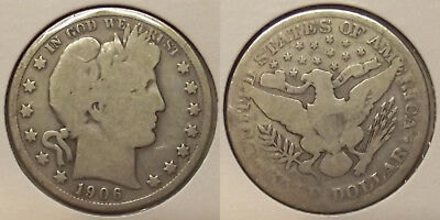 1906 Barber Half Dollar (50¢) Silver Coin (Lot #2)