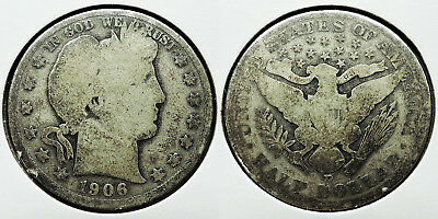 1906-D BARBER HALF DOLLAR 50c SILVER COIN (LOT #2)