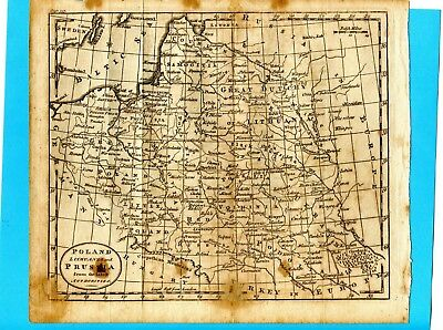 1792 Orig Map Poland Lithuania By Kitchin  Wm Guthrie Book New Geographical