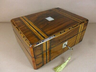 ANTIQUE VICTORIAN  PARQUETRY WALNUT JEWELLERY/SEWING  BOX.C1860-1880 (Code 505)