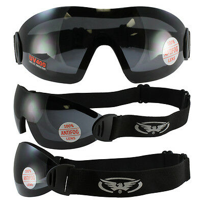 Global Vision Flare Riding Goggles Black Frame Smoke Len with STORAGE POUCH