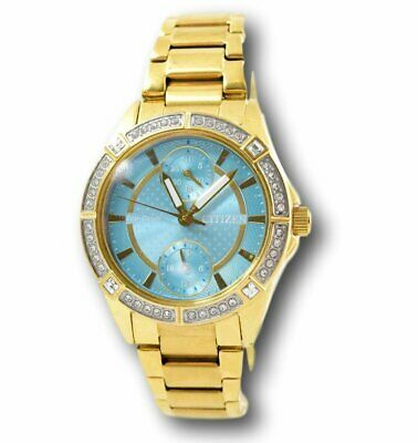 Citizen Eco-Drive Women's FD3002-51X Teal Dial Gold Stainless Crystal Watch