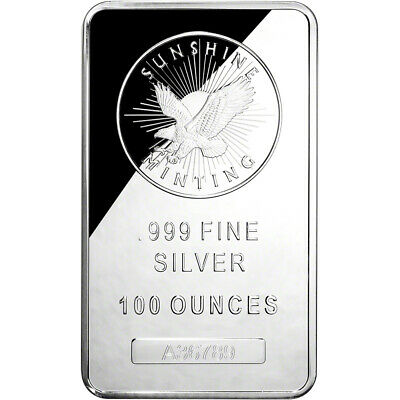 100 oz. Silver Bar - Sunshine Minting .999 w/Serial #