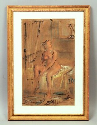 Mid Century Modern Ink & Pastel Drawing Nude Woman on Bed Looking Out Window
