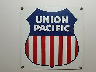 UNION PACIFIC Railroad Porcelain Enameled 8.5 x 8.5 Sign Ande Rooney NEW Vintage