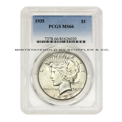 1935 $1 Peace Dollar PCGS MS66 uncirculated graded Philadelphia Silver CoinStats