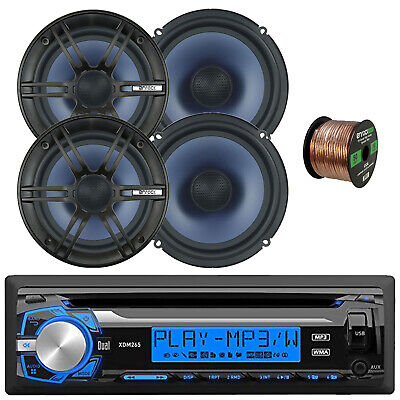 "Single DIN Digital Media Receiver, 4x Enrock 6.5"" 120 Watt 2-Way Speakers, Wire"