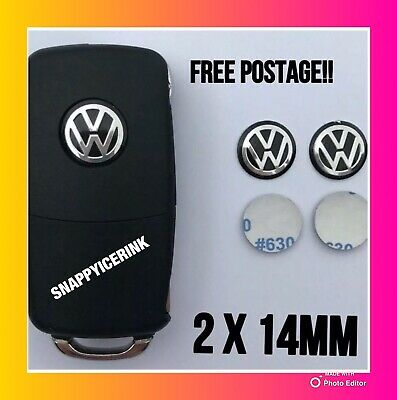 2 x VW REMOTE KEY FOB BLACK LOGO/BADGE/ EMBLEM/ STICKER 14MM BLACK SILVER