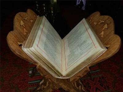Vintage Hand Carved Wooden Folding X Shaped Book Bible Stand Holder Made India