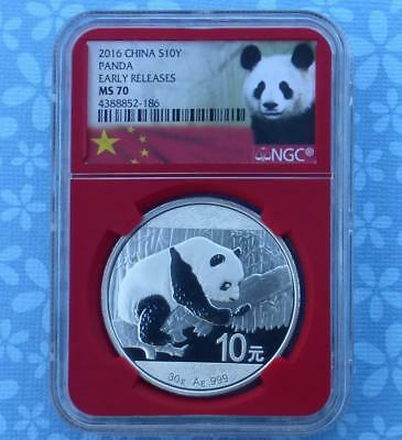 2016 NGC MS70 Silver China Panda 10 Yuan, 30g .999 Fine Silver, Red Core Slab