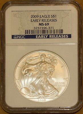 2009 $1 Silver American Eagle Early Release MS 69 NGC 3257396-371 + Bonus
