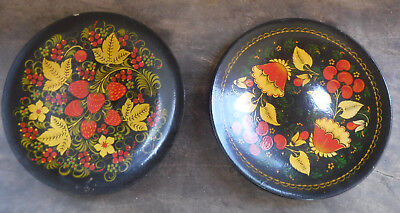 """2 Russian Folk Art Lacquered Wooden Handpainted Floral Plates 9 7/8"""" Hanging **"""
