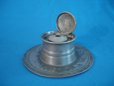 ANTIQUE PEWTER SHIP'S CAPTAIN INKWELL & QUILL HOLDER WITH CERAMIC INSERT  1800's