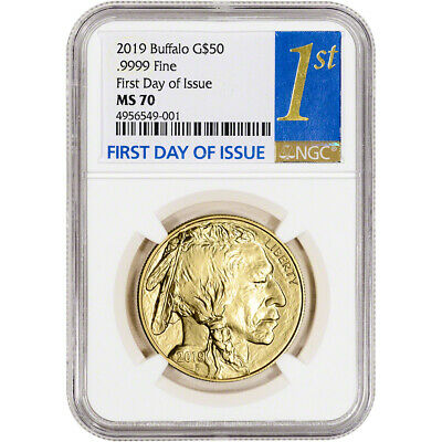 2019 American Gold Buffalo 1 oz $50 - NGC MS70 First Day of Issue 1st Label