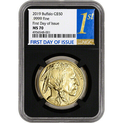 2019 American Gold Buffalo 1 oz $50 NGC MS70 First Day of Issue 1st Label Black