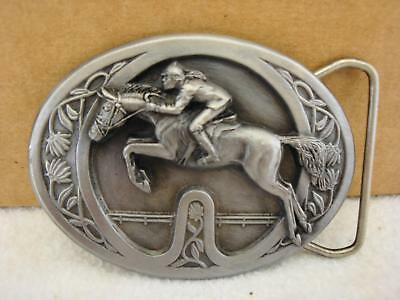 Vintage 1985 Bergamot Brass Works JOCKEY HORSE RACING Pewter Belt Buckle NEW NOS