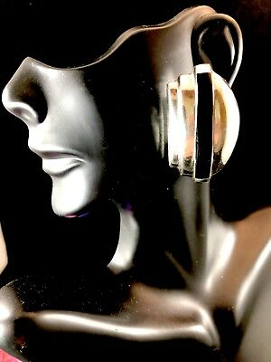 Striking Signed Mexico Taxco 925 Sterling Silver Onyx Stone Deco Clip Earrings