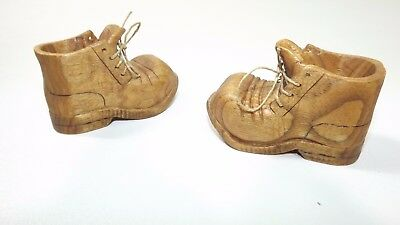 """Set Lot of  2 Vintage Wooden Lace Up Baby Shoe 3 1/2"""" Long /2"""" High"""