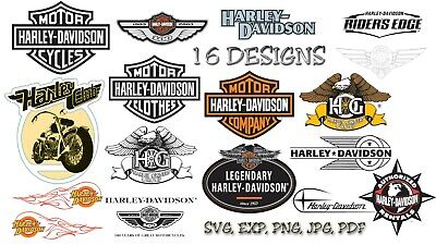 Harley Davidson Logo Svg, Eps, Png, Jpeg, 16 Designs Bundle, Cut Files