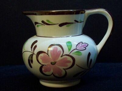Vintage Copper Luster Floral Pitcher Pink Flower Grays Pottery England Small Jug