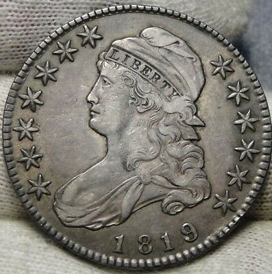1819/8 Capped Bust Half Dollar 50 Cents - Very Nice Coin, Free Shipping (6382)