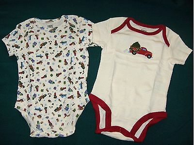 New 2-Pack Baby Boy OnePiece Christmas T-Shirts Undershirts 0-3 or 6-9 Mos