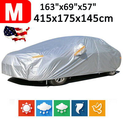13.6ft 190T Waterproof Outdoor Full Car Cover for Hatchback Rain Dust Protector