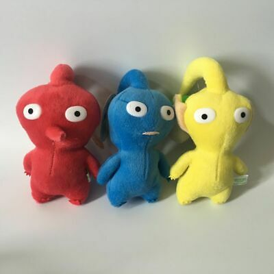 New Set Of 3 Game Plush Pikmin Plush Red Blue Yellow Bud 8 Lovely