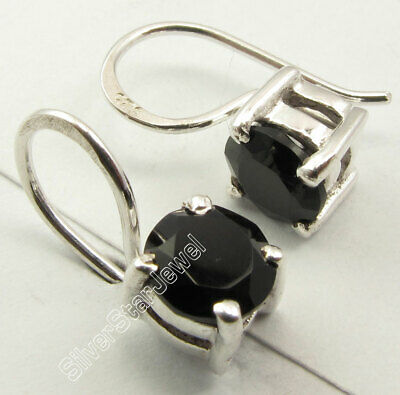 925 Solid Silver Genuine BLACK ONYX Engagement Prong Setting Earrings 0.6 Inch