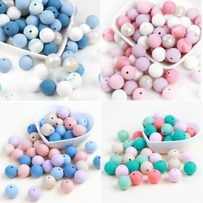 10PC Silicone Beads Baby Teether Bead Teething Toy Chew Necklace Pacifier Chain