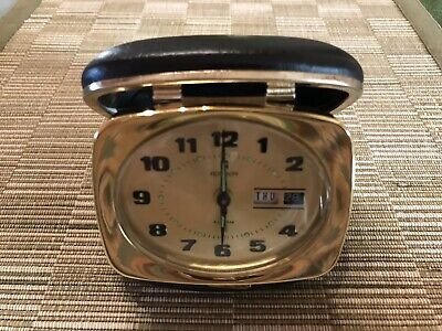 Ronson Vintage Wind Up Alarm Clock Day Date Japan Movement Brass Compact Travel
