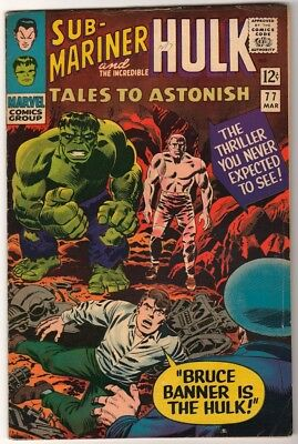Marvel TALES TO ASTONISH 77 HULK SUB MARINER AVENGERS  VG+ 4.5