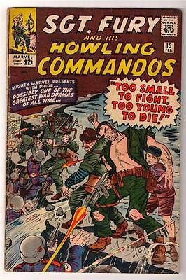 MARVEL Comics VG+ 4.5 SGT FURY (nick) Captain America app SILVER age #15