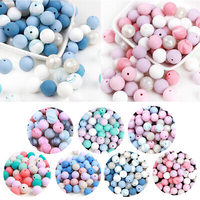 25PC Silicone Beads Baby Teether Bead Teething Toys Pacifier Chain Chew Necklace