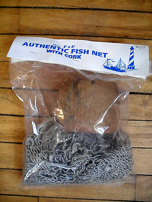Authentic fish netting greenish color sturdy clean 2 ft. by 5 feet with cork