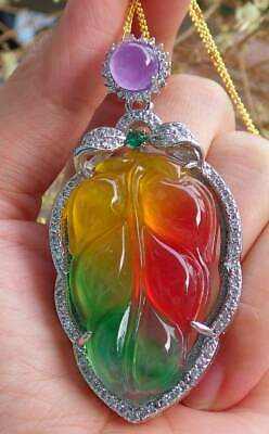 Gold Plate Red Green Yellow JADE Pendant Leaf Necklace Diamond Imitation 320385