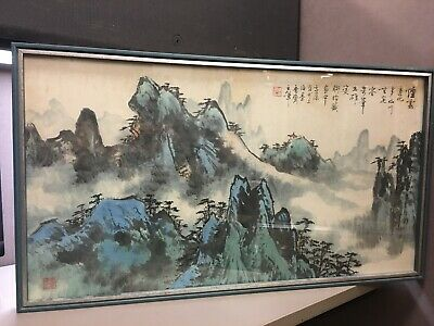 Signed Vintage Japanese Watercolor Painting of Mountains Turquoise Blues Pinks