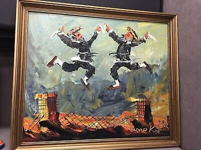 "Oil Painting Signed Morris Katz Chassidic Jews Rabbis ""Rejoicing"" on Rooftop"