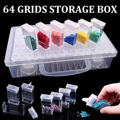 64 Grid Embroidery Painting Tool Plastic Jewelry Beads Drill Storage Box UK