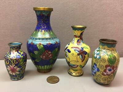 Vintage Lot of 4 Enamel Miniature Chinese Japanese Asian Vases