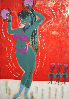 Vintage gouache painting woman dancer poster signed