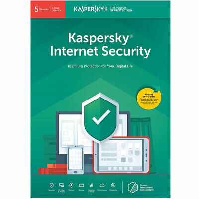 Kaspersky Internet Security 2019 5 Devices, 1 Year Anti Virus New Sealed UK