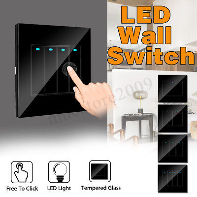 1/2/3/4 Gang Modern Home Wall LED Indicator Light Switch Glass Panel Push Button