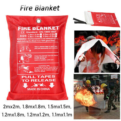 Home Safety Fire Blanket Protection Red Sealed Case Fast Release Tab Max 2x2m