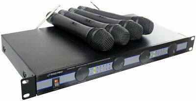 Pyle PDWM5000 Rack Mount Wireless Hand Held 4 Quad VHF Microphone Mic System Kit