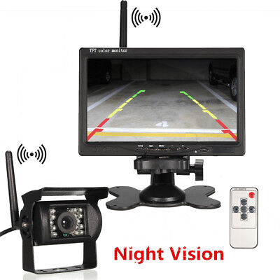 "7"" Lcd Monitor Car Rear View Kit& Wireless Ir Reversing Camera 12-24V Bus Truck"