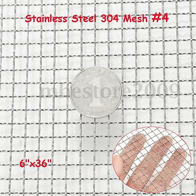 304 Stainless Steel 304 Mesh #4 .047 Wire Square Cloth Screen Filter 6''x 36''