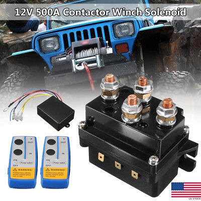 12V 500A HD Contactor Winch Control Solenoid Relay Twin ...  Volt Winch Solenoid Wiring Diagram Wireless on