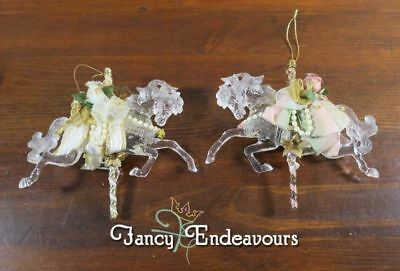 TWO Victorian Ribbon & Rose Adorned Carousel Horse Christmas Ornaments.....CEM